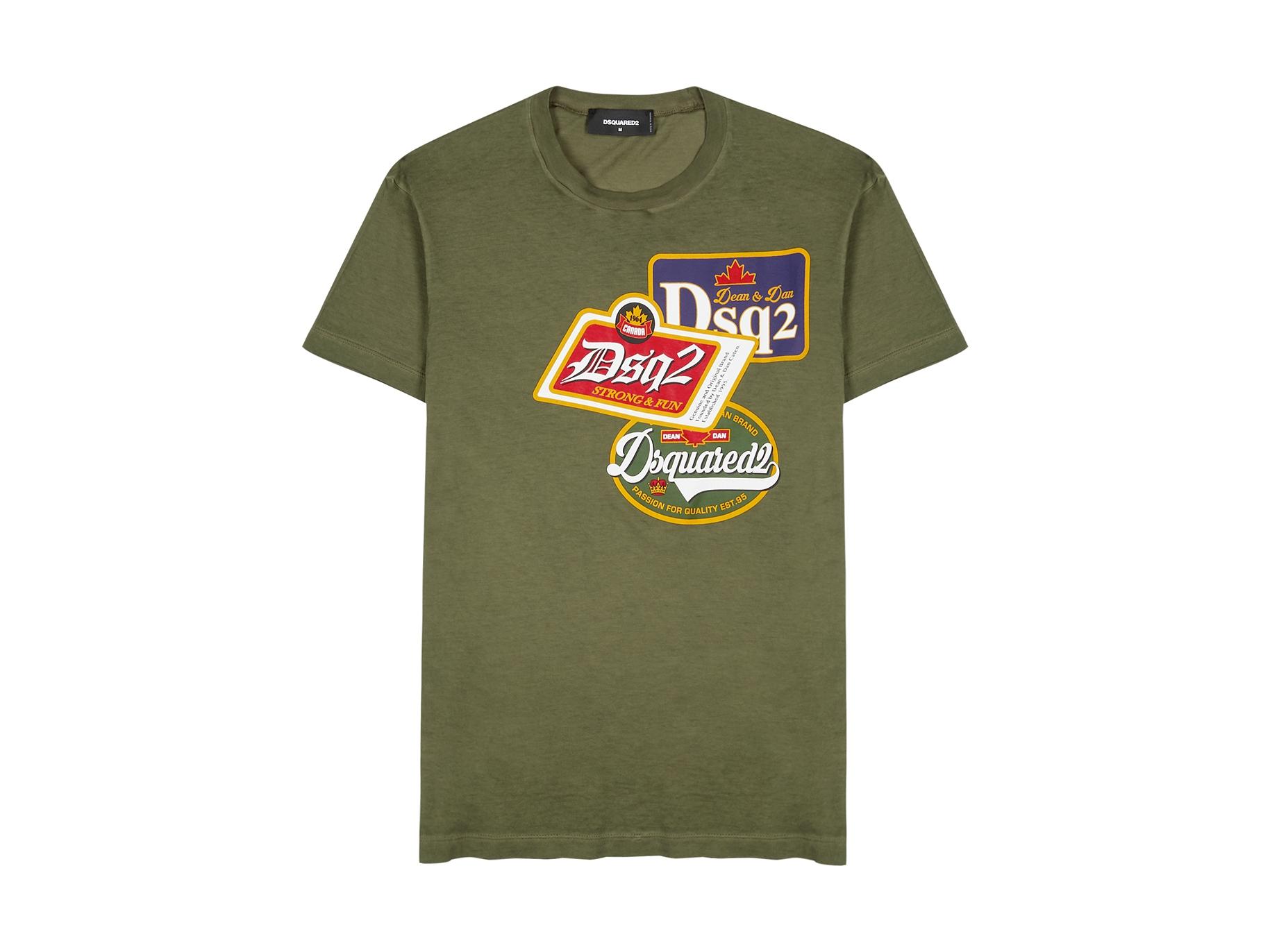 efe3f00c Army green printed cotton T-shirt