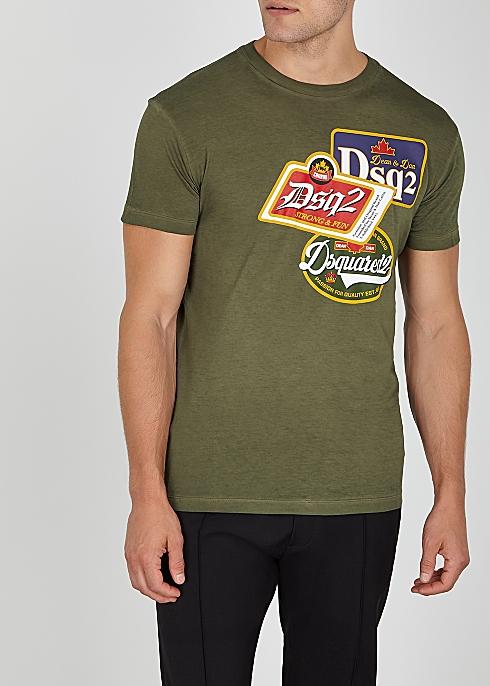 9c3b2d82 Dsquared2 Army green printed cotton T-shirt - Harvey Nichols