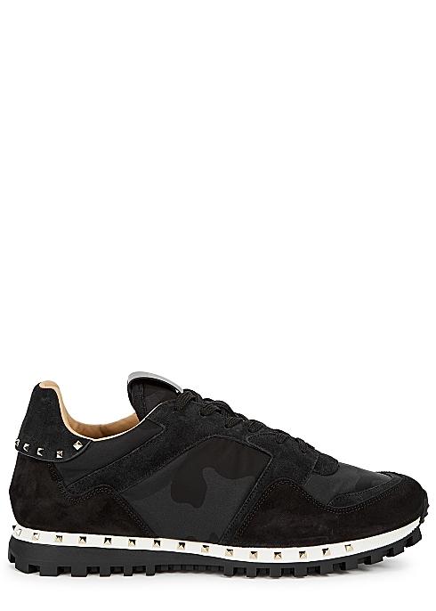 72ccbe78a1b0e Valentino Garavani Runner camouflage-print suede sneakers - Harvey ...