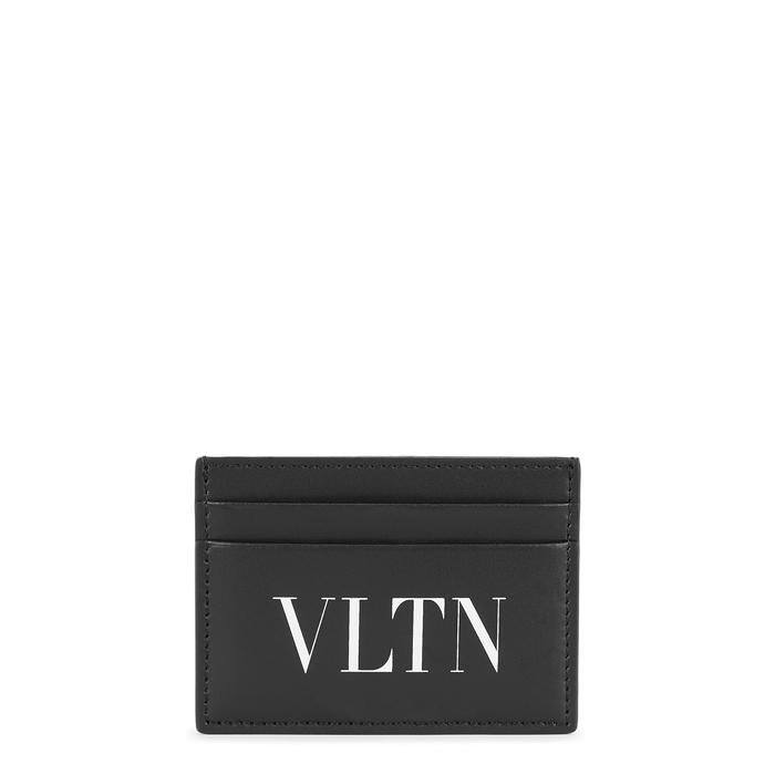 Valentino Garavani VLTN Black Leather Card Holder
