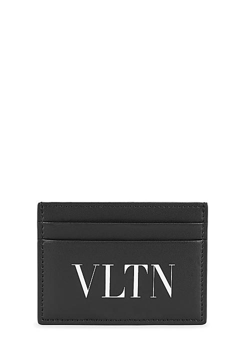 ca5d319381de9 Valentino Garavani VLTN black leather card holder - Harvey Nichols