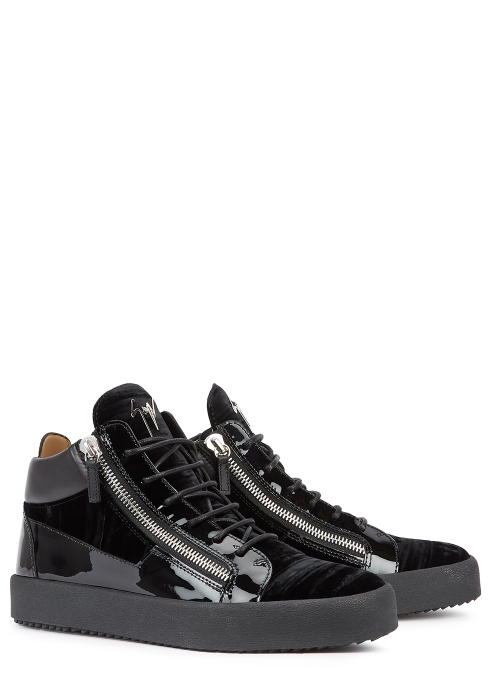 ec9305287 Giuseppe Zanotti May black velvet hi-top trainers - Harvey Nichols
