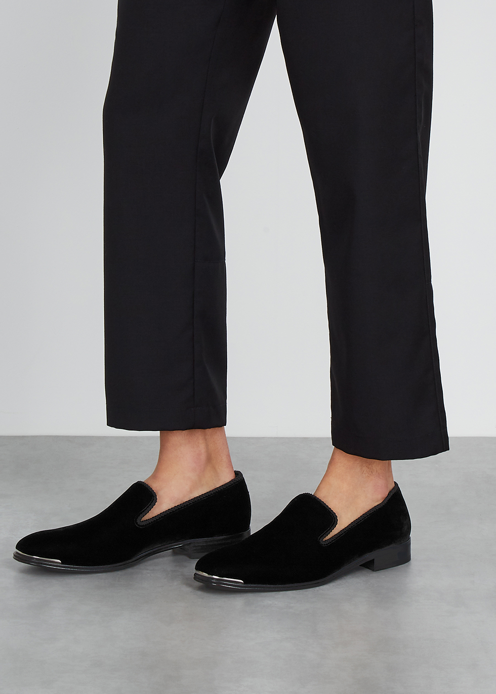 Alexander McQueen Black velvet loafers