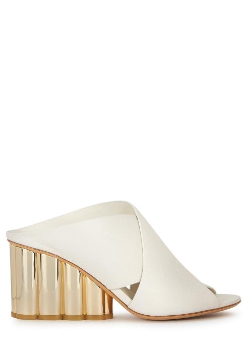 747965f53d817 Salvatore Ferragamo Lasa 70 white leather mules - Harvey Nichols