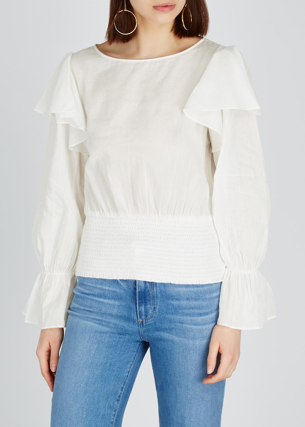 Laya white ruffled cotton top - Alice + Olivia