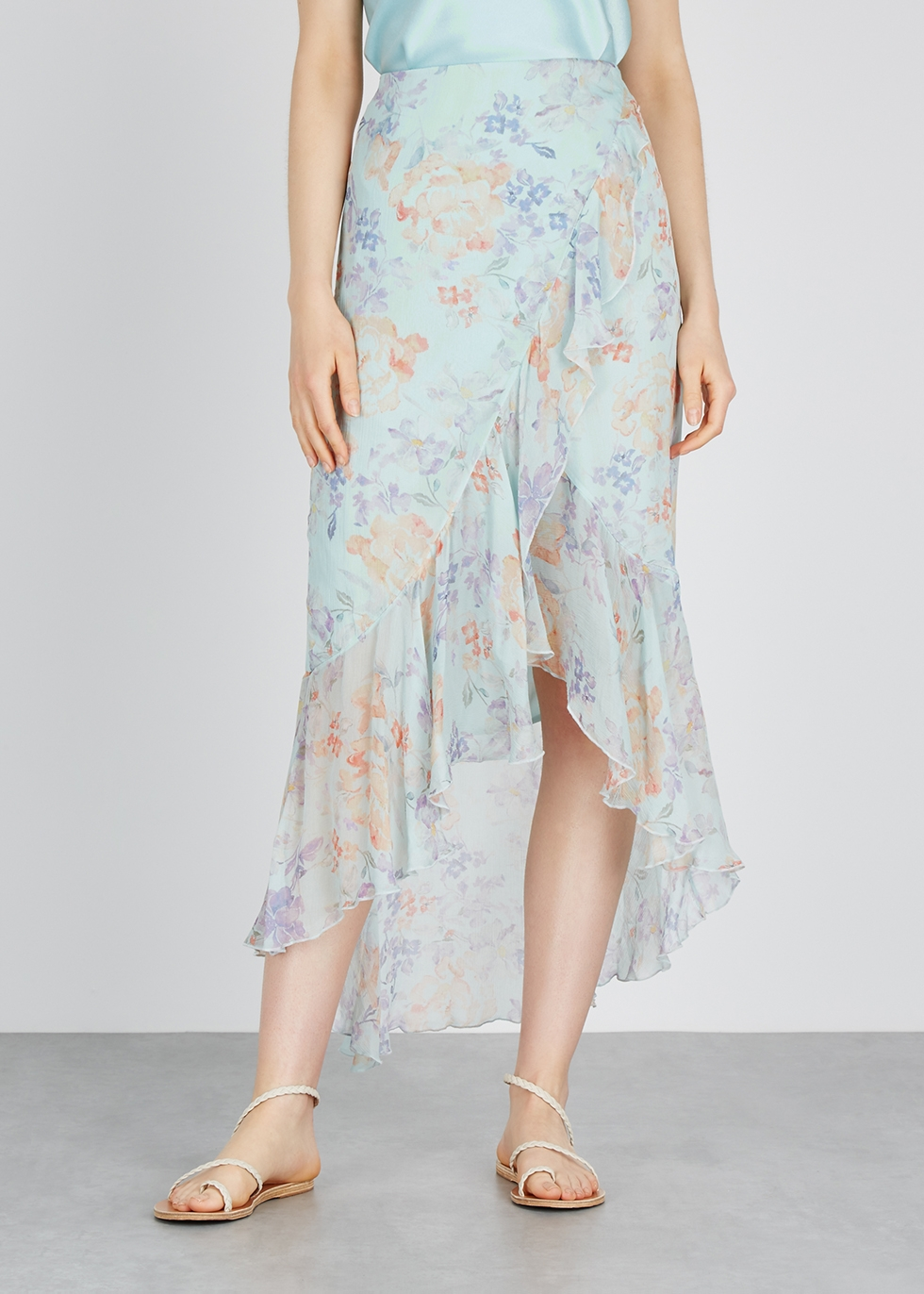 Caily floral-print chiffon wrap skirt - Alice + Olivia