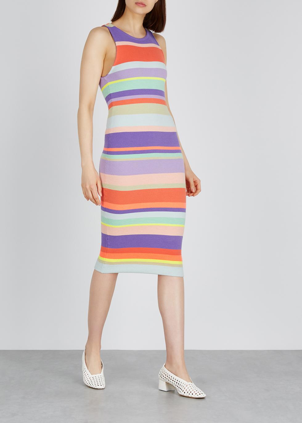 Jenner striped knitted midi dress - Alice + Olivia
