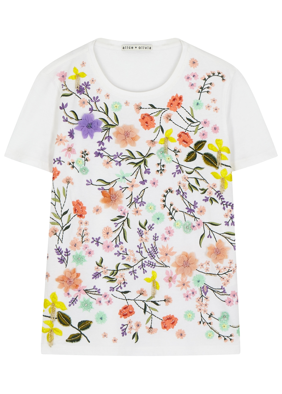 Rylyn floral-embroidered cotton T-shirt - Alice + Olivia