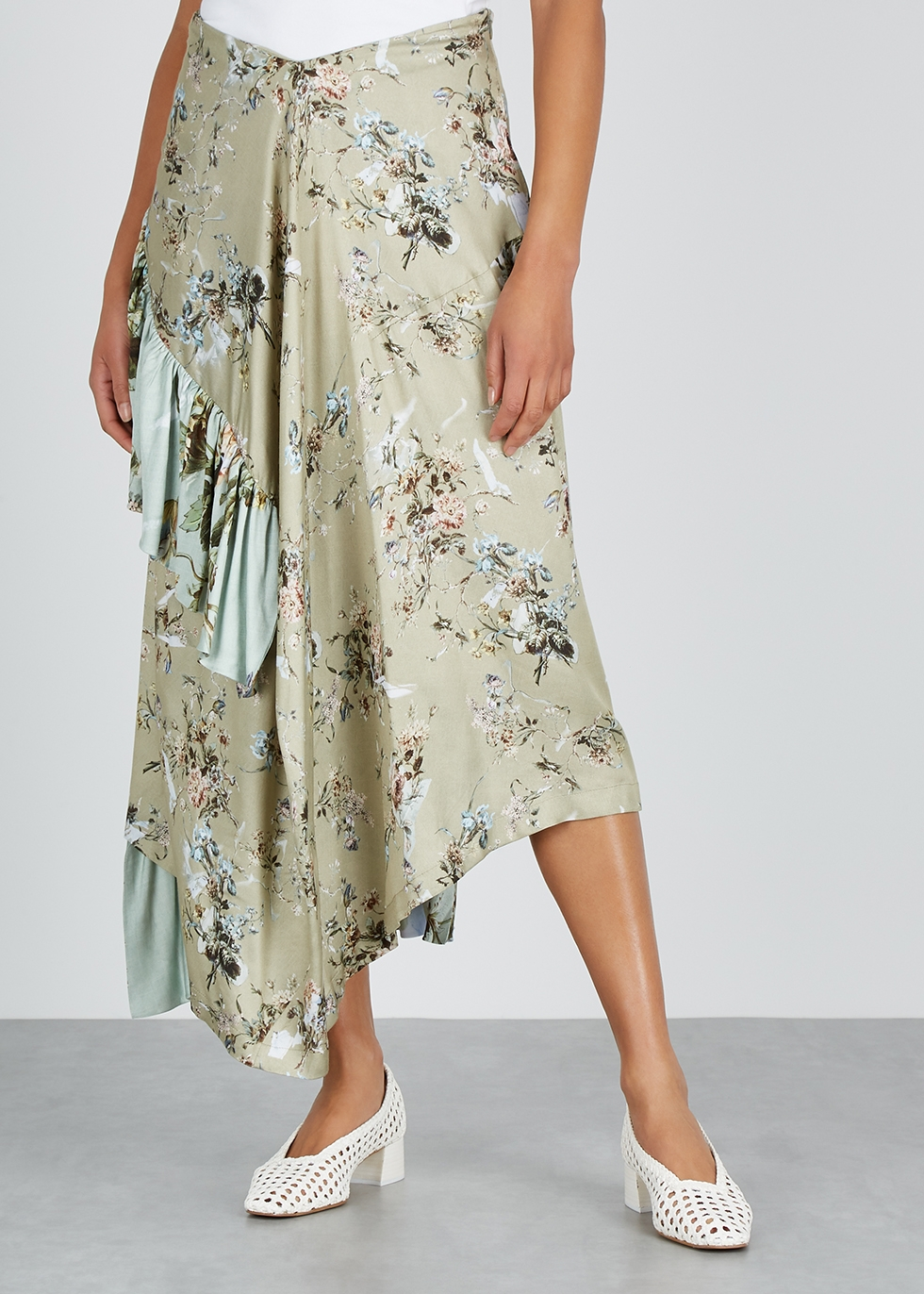 Carmella floral-print satin midi skirt - Preen By Thornton Bregazzi