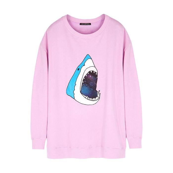Wildfox Space Shark Roadtrip Printed Jersey Sweatshirt