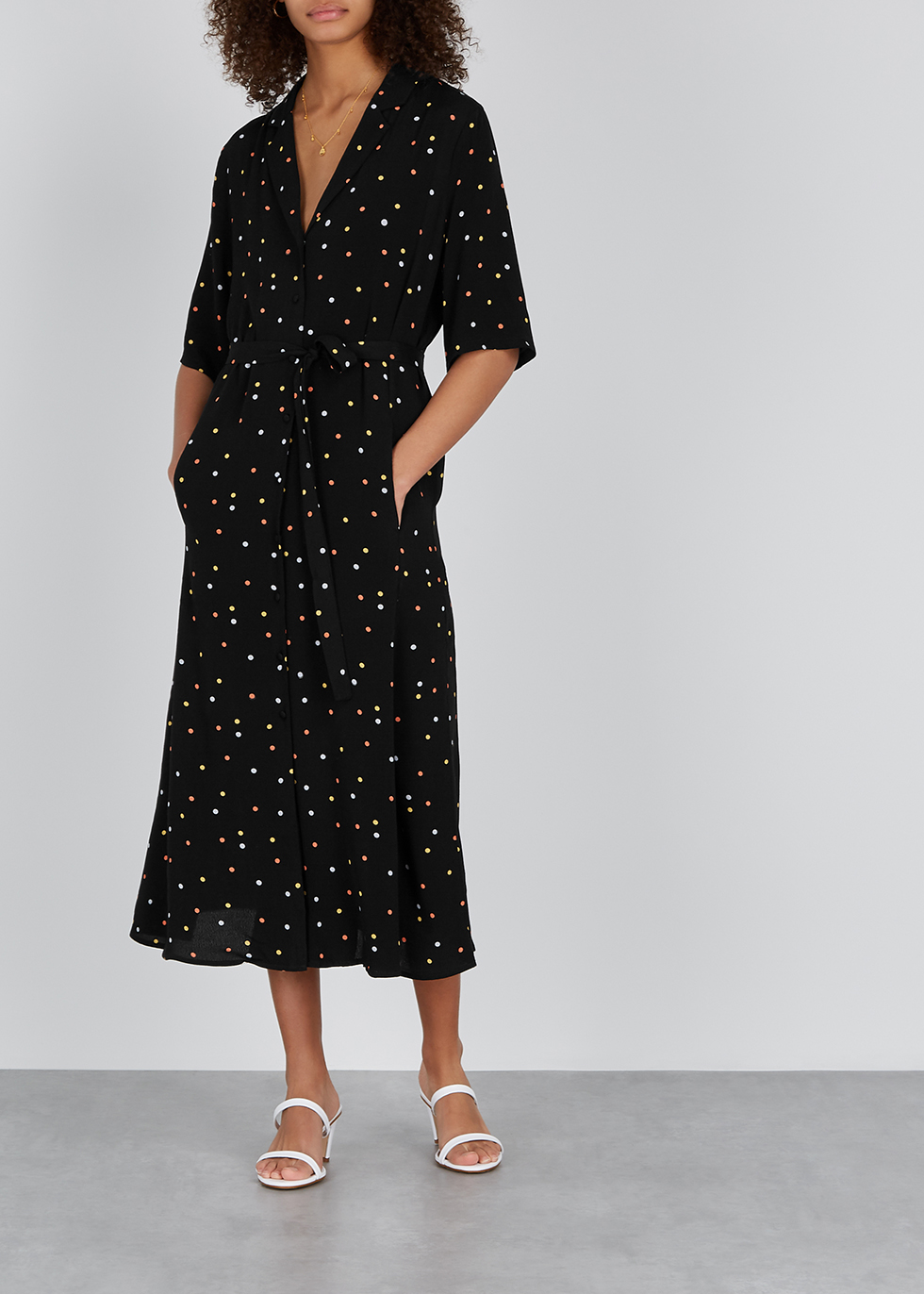 Dorothie polka-dot midi shirt dress - Gestuz