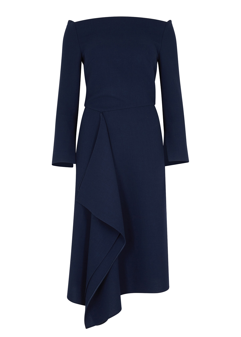 Clover navy draped wool dress - Roland Mouret