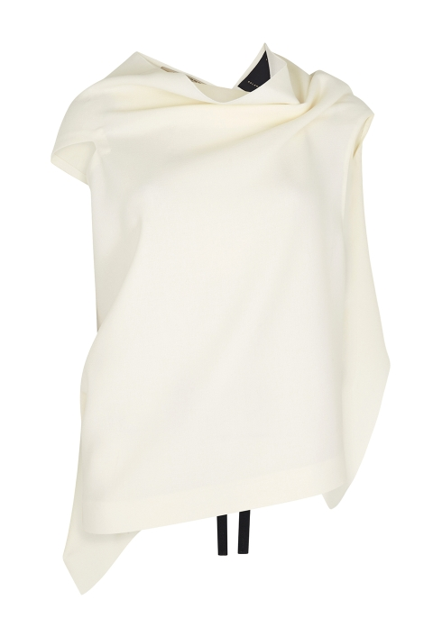 d6feab7765e9 Roland Mouret Eugene ivory draped wool top - Harvey Nichols