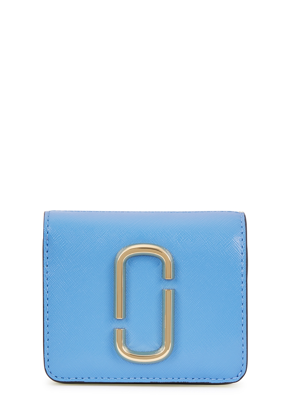 MARC JACOBS   Marc Jacobs Snapshot Blue, Caramel And Yellow Mini Leather Wallet   Goxip