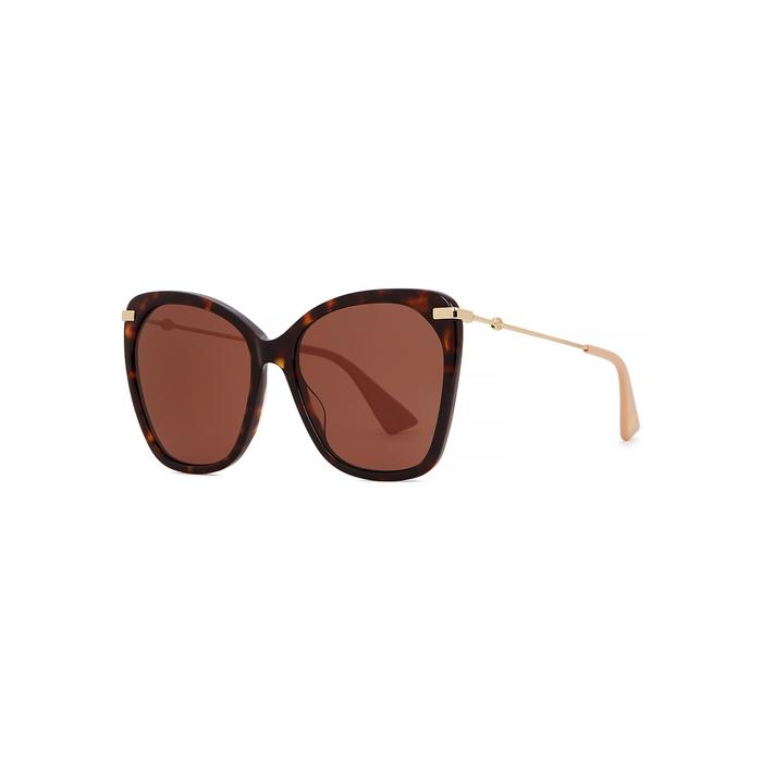 Gucci Tortoiseshell Oversized Sunglasses In Havana