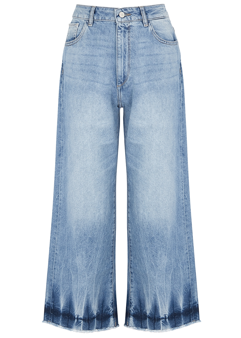 DL | DL1961 Hepburn Blue Wide-Leg Denim Jeans | Goxip