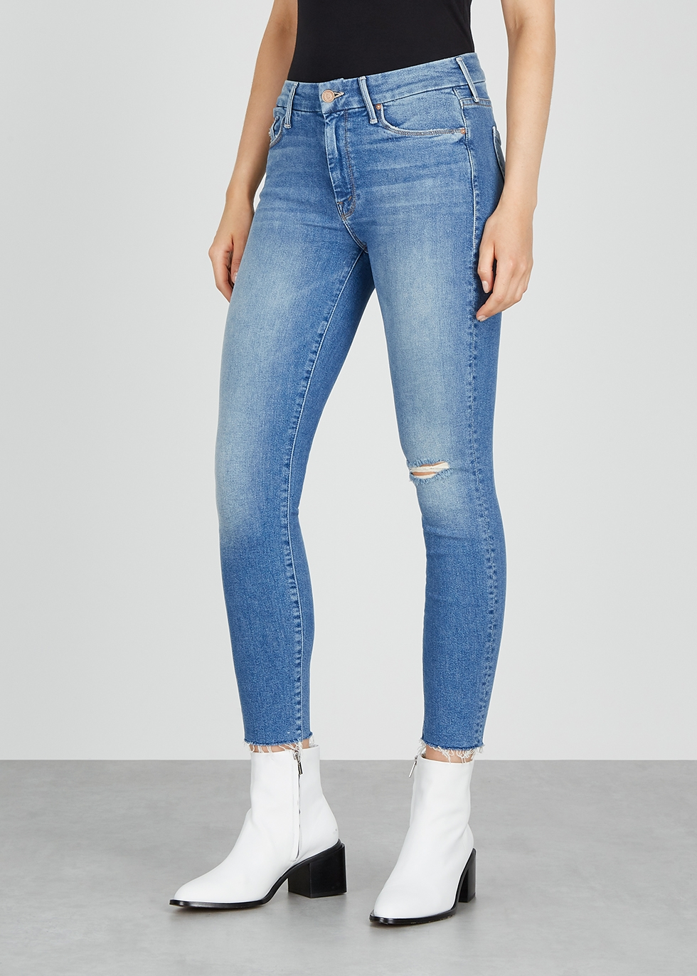 Mother The Looker light blue skinny jeans Harvey Nichols