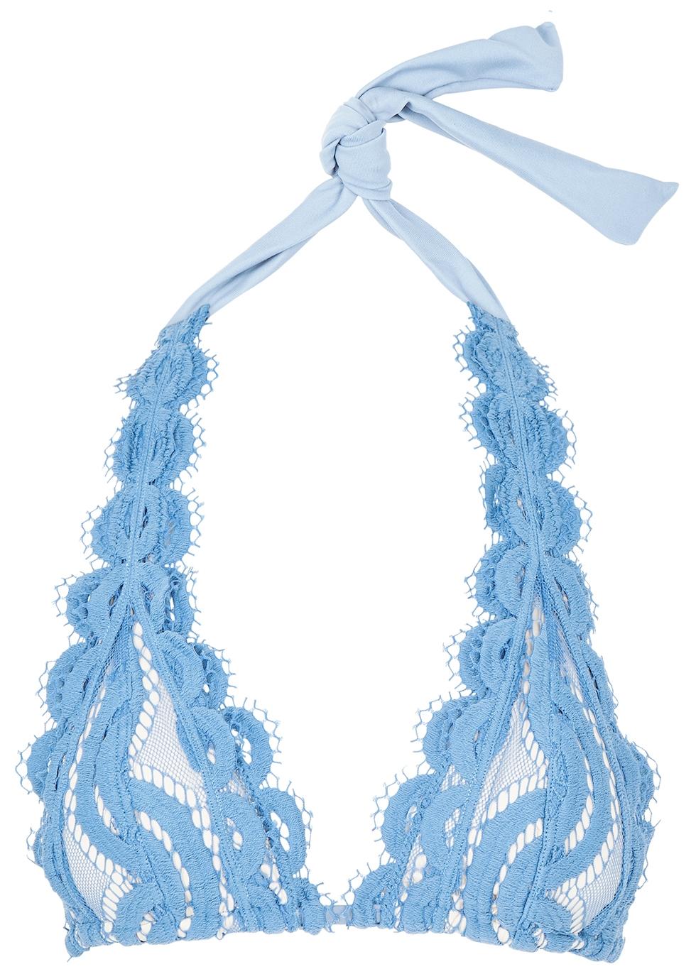 PILYQ | PilyQ Sky Blue Halterneck Lace Bikini Top | Goxip