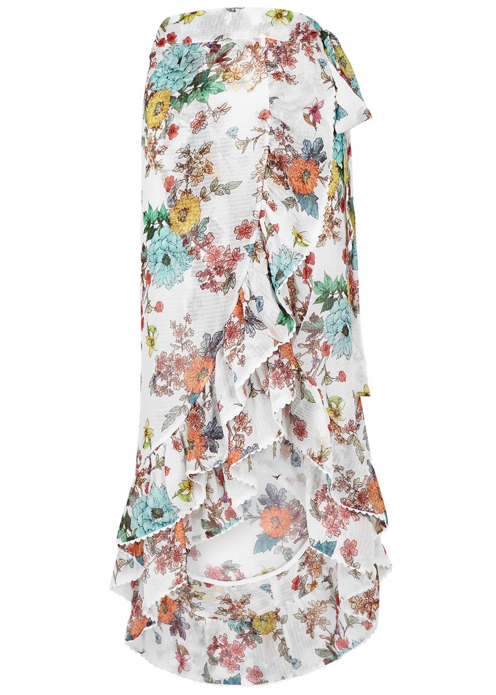 PILYQ | PilyQ Wild Flower Kiki Gauze Wrap Skirt | Goxip