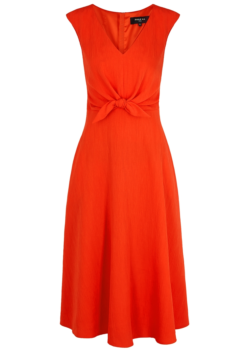 3e5ee041187af4 Coral bow-embellished midi dress Coral bow-embellished midi dress. New  Season. Paule Ka