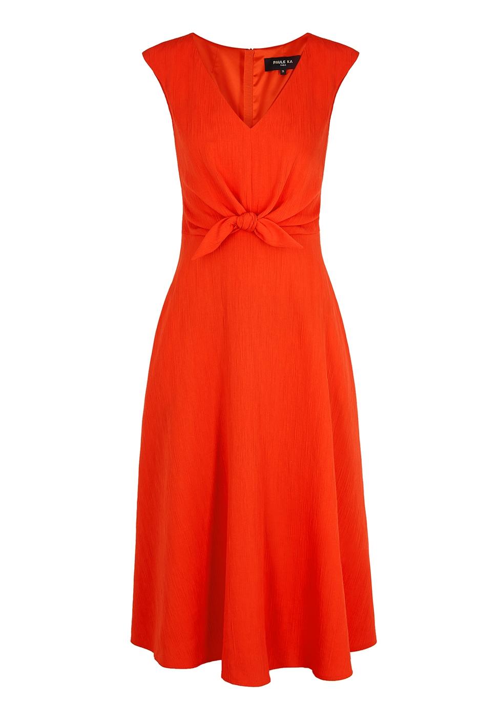 Coral bow-embellished midi dress