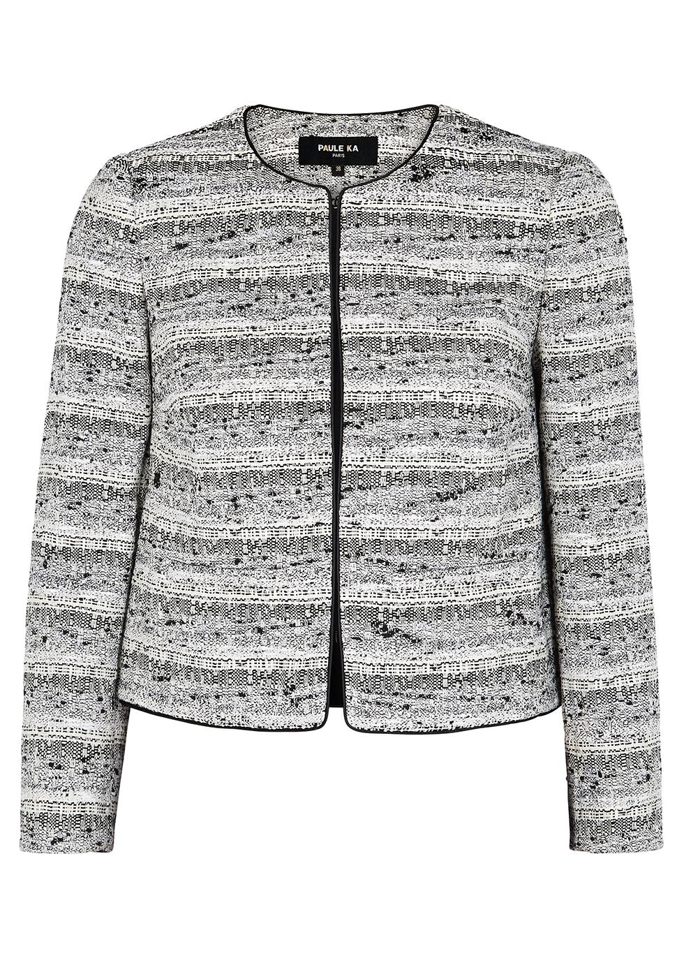 Monochrome bouclé tweed jacket