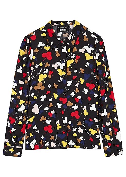 36f571755d2ff Boutique Moschino Black club-print blouse - Harvey Nichols