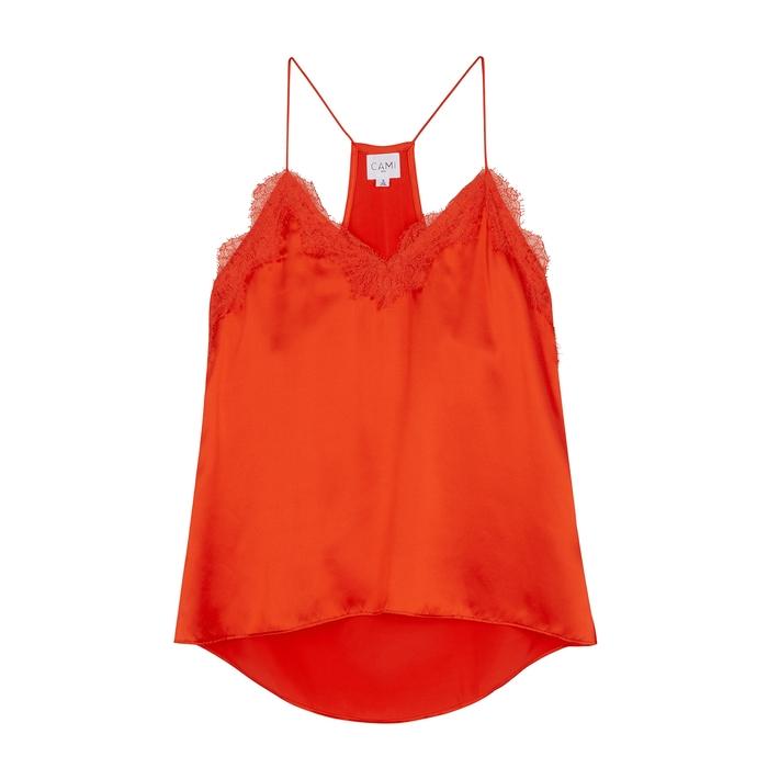 Cami Nyc The Racer Orange Silk Top