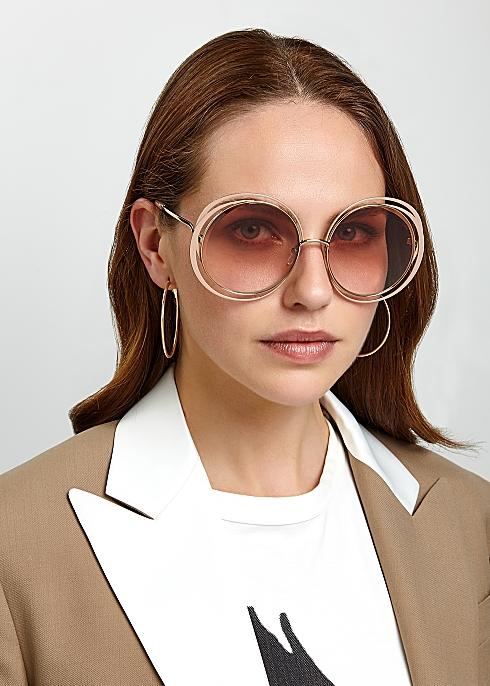 7e929a0916c0 Chloé Carlina blush round-frame sunglasses - Harvey Nichols