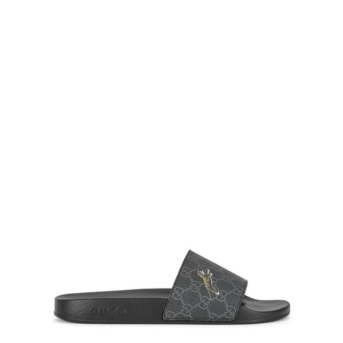 Gucci Gg Supreme Tiger-Print Sliders In Black
