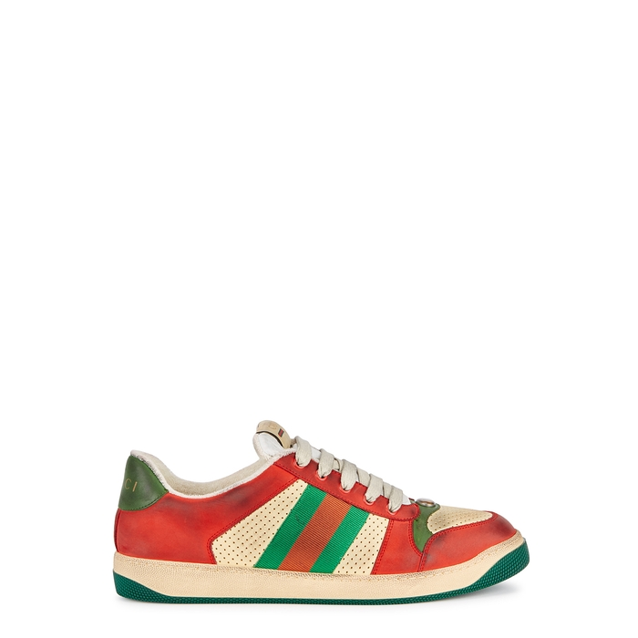 Gucci Screener Distressed Leather Sneakers
