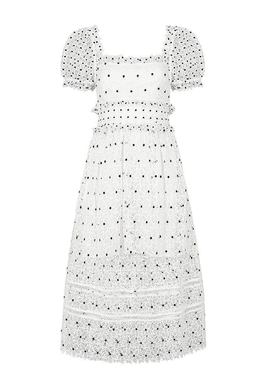 854bbfe1270c Self-Portrait. Black floral-embellished tulle midi dress. £360.00 · Guipure  white lace midi dress ...