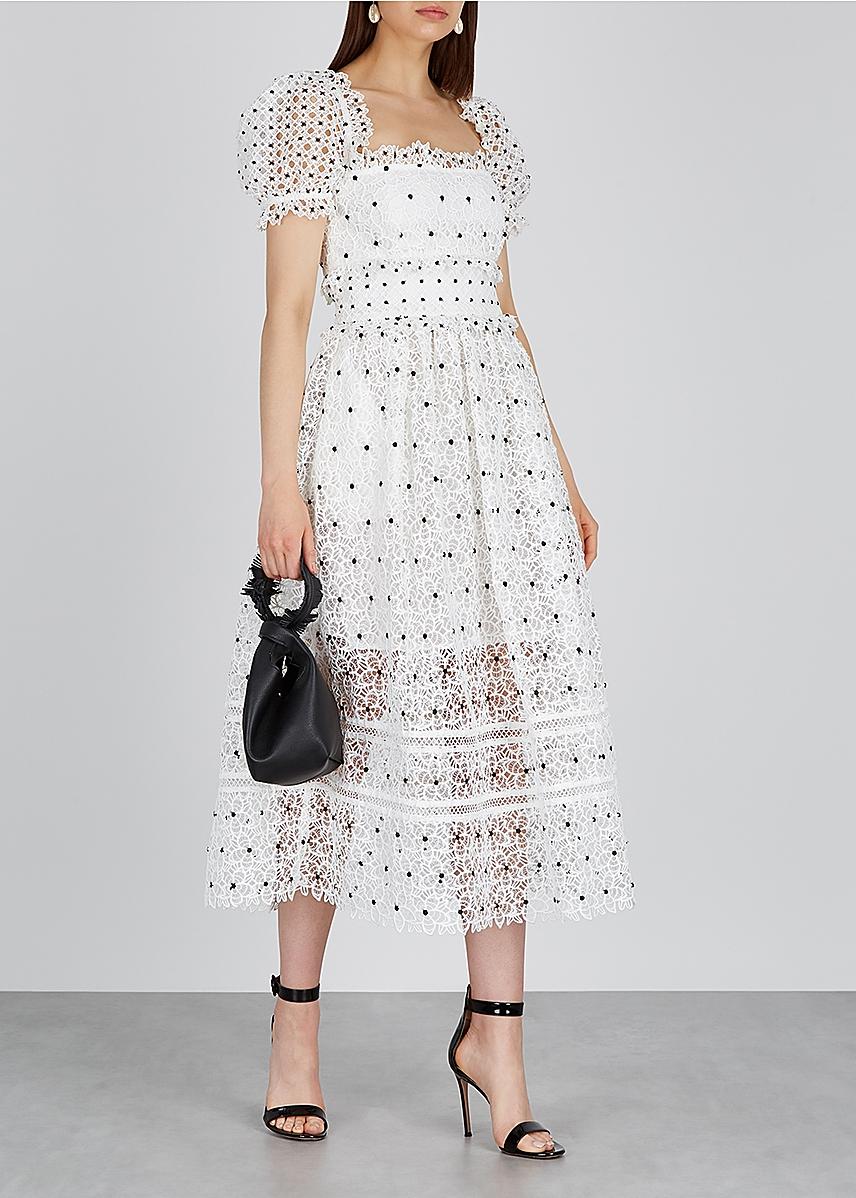 9d107964df68 Self-Portrait. Black floral-embellished tulle midi dress. £360.00 · Guipure  white lace midi dress Guipure white lace midi dress