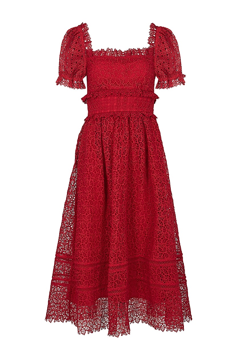 bf27d9c3aed3 Guipure red lace midi dress Guipure red lace midi dress. New Season. Self- Portrait. Guipure red lace midi dress. £350.00 · Black floral-embellished  tulle ...