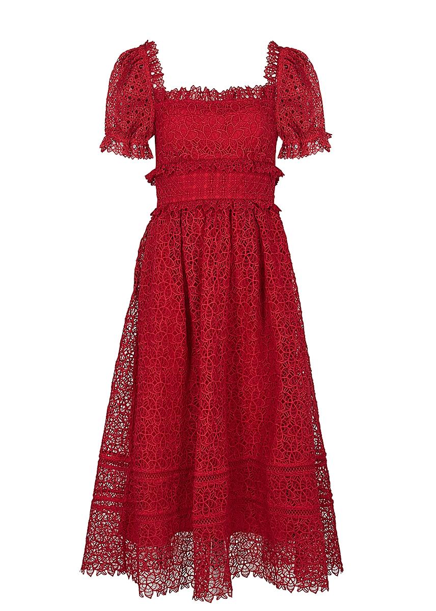 3c2e18b0ef9f Guipure red lace midi dress Guipure red lace midi dress. New Season. Self- Portrait
