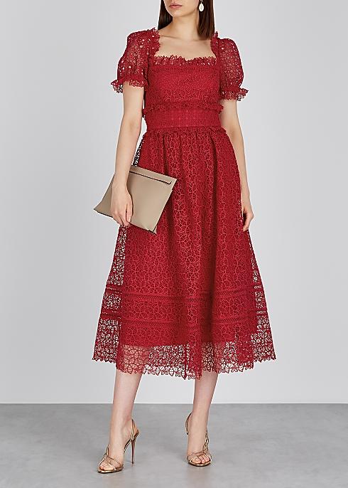 e04c120923e6 Self-Portrait Guipure red lace midi dress - Harvey Nichols