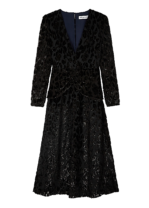 39d5402785b7 Self-Portrait Black leopard-devoré midi dress - Harvey Nichols