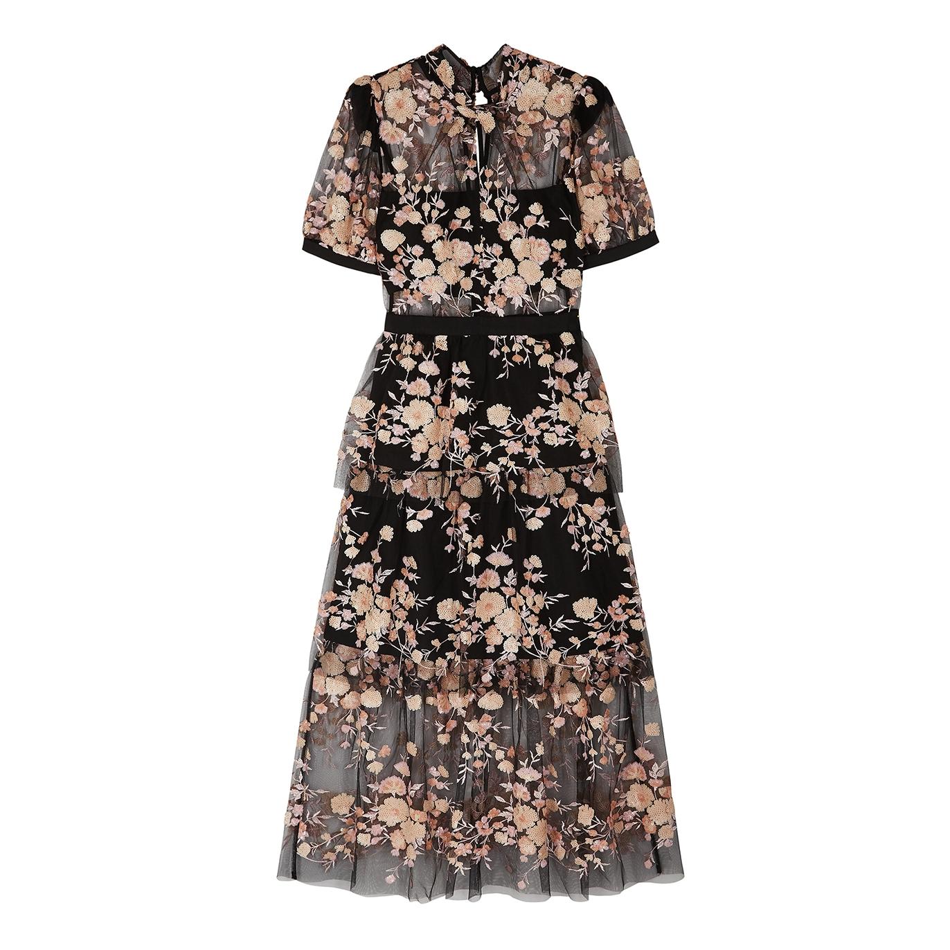 58c0ec274d1f Self-Portrait Black floral-embellished tulle midi dress - Harvey Nichols