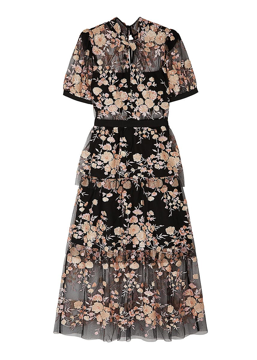 3b9f0d5555eb Black floral-embellished tulle midi dress Black floral-embellished tulle  midi dress. New Season. Self-Portrait
