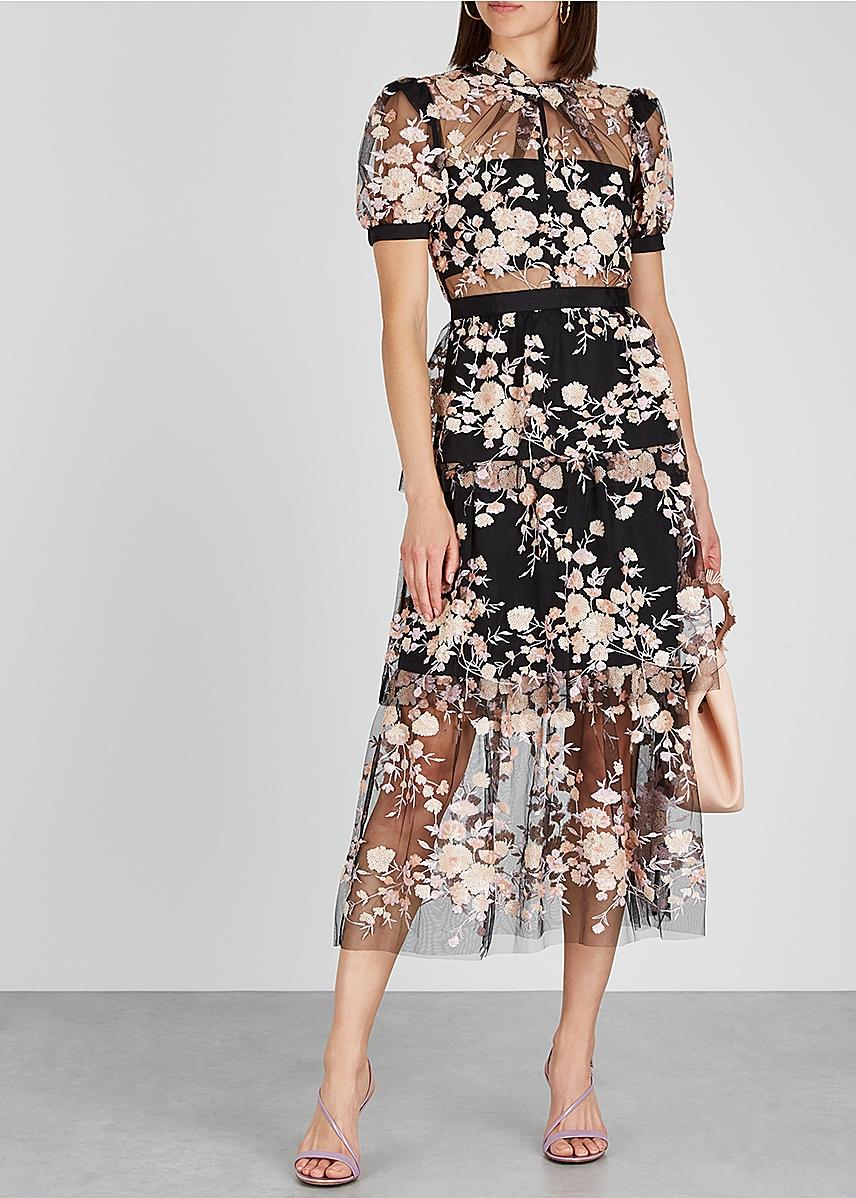 91d044bd1a79 ... Black floral-embellished tulle midi dress. New Season. Self-Portrait