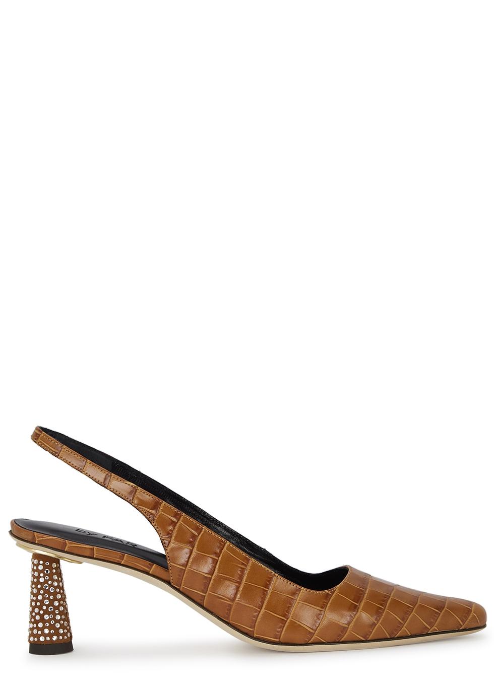 Diana 60 crocodile-effect slingback leather pumps