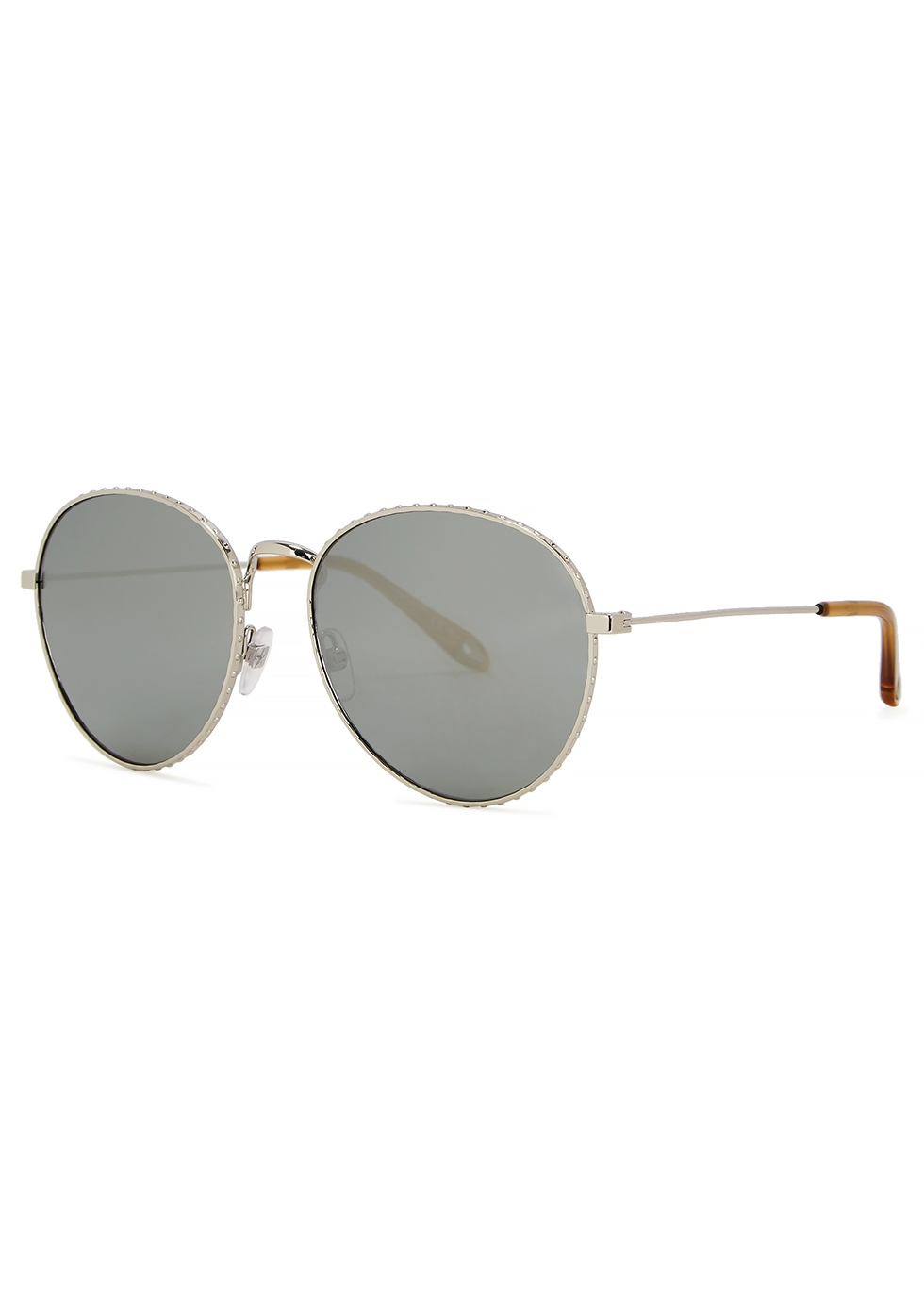 GIVENCHY   Givenchy Silver-Tone Oval-Frame Sunglasses   Goxip