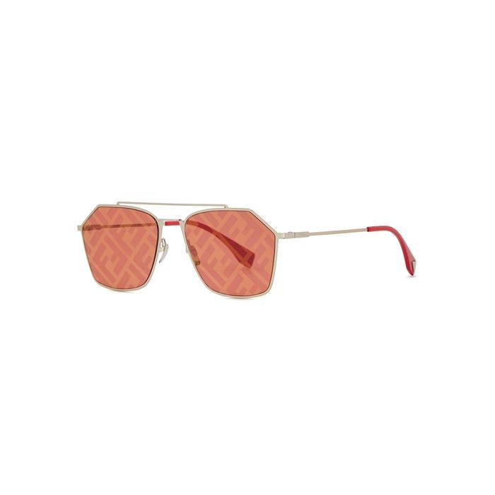 Fendi Eyeline Logo-print Aviator-style Sunglasses