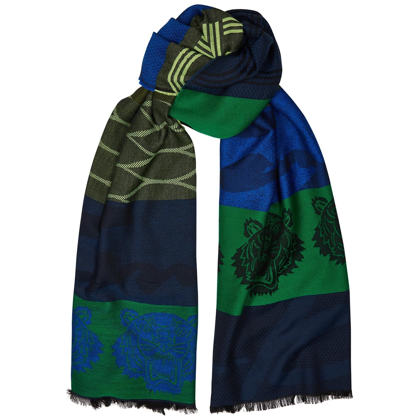 dd7d1c7edb Green and blue tiger-jacquard scarf