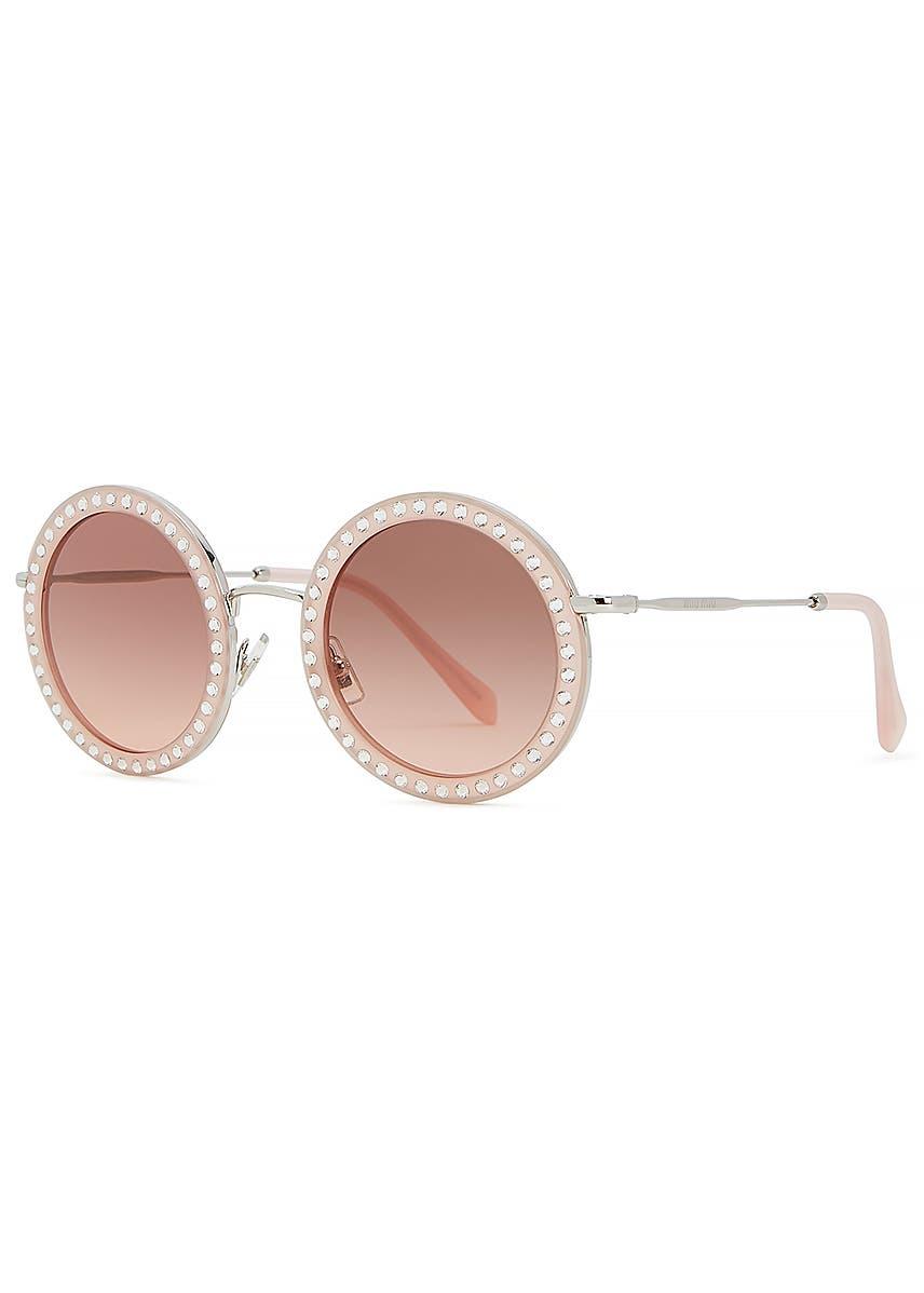 e3f7772e3ebb Crystal-embellished round frame sunglasses. New In. Miu Miu