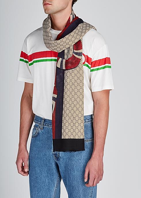 055d11aa1 Gucci GG jacquard fine-knit wool scarf - Harvey Nichols