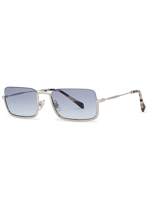 8d467111a722 Miu Miu Silver-tone rectangle-frame sunglasses - Harvey Nichols