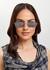 Silver-tone rectangle-frame sunglasses - Miu Miu