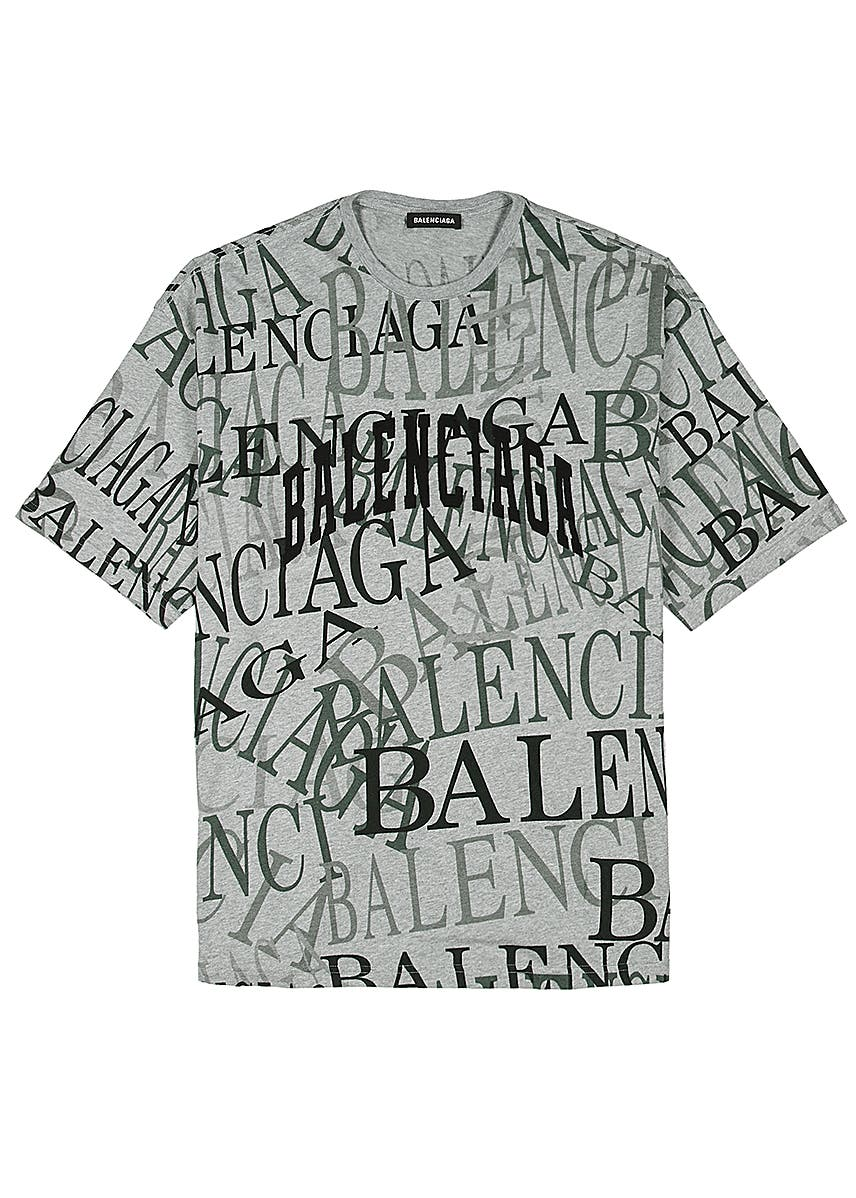 1178da387acc Grey logo-print cotton T-shirt ...