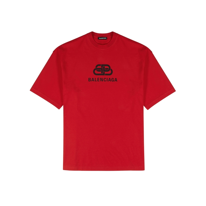 Balenciaga Red Logo-print Cotton T-shirt